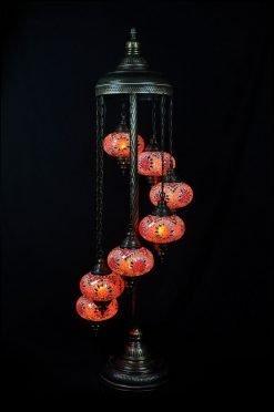 Turkish floor lamp red orange 7 spheres - oriental-lights.com