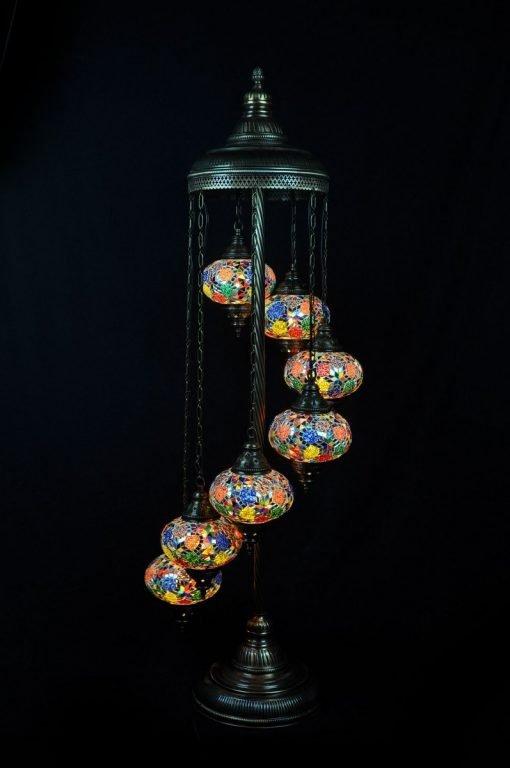 Turkish floor lamp multi colour 7 spheres - oriental-lights.com