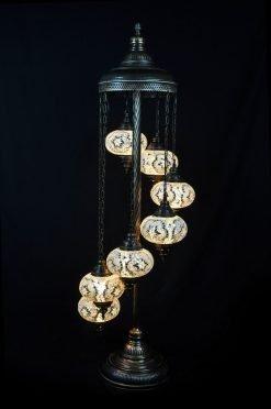 Turkish floor lamp white 7 spheres - oriental-lights.com