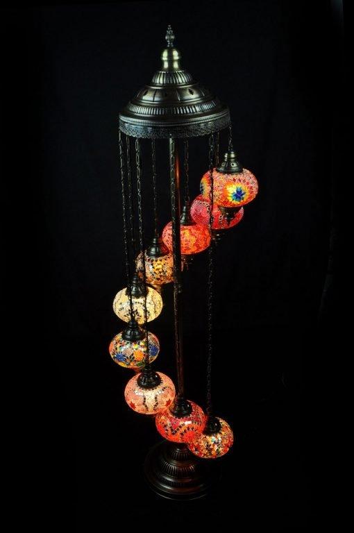 Turkish floor lamp 9 spheres - oriental-lights.com