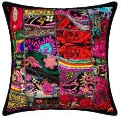 Ibiza bohemian throw pillow black