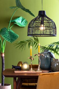 Hanging lamp POCITA Ø48 × 43 cm rattan black can be bought at Oriental Lights
