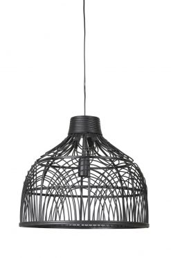 Hanging lamp POCITA cm rattan black can be bought at Oriental Lights