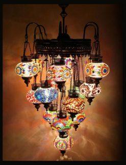 Turkish chandelier multicolour 16 spheres - Oriental Lights